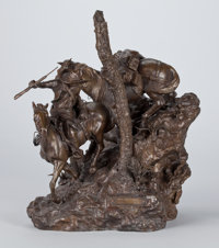 G. HARVEY (American, b. 1933) Those That Plunder, 1977 Bronze with patina 17 x 15-1/2 x 10 inches