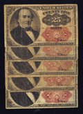 Fractional Currency:Fifth Issue, Fr. 1308 25¢ Fifth Issue Fractionals. Five Examples. Very Good toFine.. ... (Total: 5 notes)