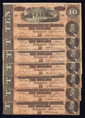 Confederate Notes:1864 Issues, Seven Consecutive T68 $10 1864.. ... (Total: 7 notes)