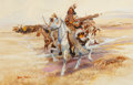 Works on Paper, FROM A PRIVATE ARKANSAS COLLECTION. DAVE POWELL (American, b.1954). Indians on Horseback. Watercolor and charcoal on p...