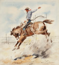 Works on Paper, STANLEY M. LONG (American, 1892-1972). On the Trail and Rising High. Watercolor on paper. 12-1/2 x 11 inches (31.8 x 27.... (Total: 2 Items)