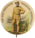Political:Pinback Buttons (1896-present), Theodore Roosevelt: A Colorful 1900 Design Touting This Rough RiderHero for Vice President. ...