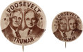 Political:Pinback Buttons (1896-present), Roosevelt & Truman: Pair of Key 1944 Presidential Campaign Matched Jugate Buttons.... (Total: 2 Items)