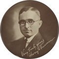 "Political:Pinback Buttons (1896-present), Harry S Truman: A Rare Early 4"" Celluloid. ..."