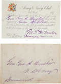 Military & Patriotic:Indian Wars, George Armstrong Custer: Temporary Invitation to the Army &Navy Club of New York.... (Total: 2 Items)