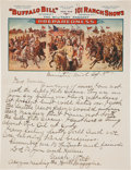 "Autographs:Celebrities, William F. ""Buffalo Bill"" Cody: Fantastic Personal Autograph Letter Signed ""Uncle Will""...."