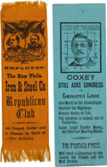 Political:Ribbons & Badges, McKinley & Hobart and Jacob Coxey: Establishment and Anti-Establishment Ribbons.... (Total: 2 Items)