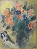 Fine Art - Painting, European:Contemporary   (1950 to present)  , MARC CHAGALL (Belarussian/French, 1887-1985). . Fleurs etcouple, circa 1948-52. Gouache, pastel, pen, brush and Indiai...