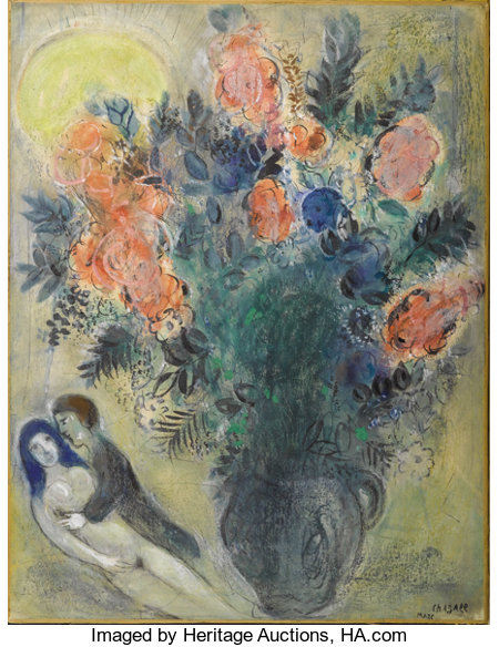 MARC CHAGALL (Belarussian/French, 1887-1985)  Fleurs et couple, circa 1948-52 Gouache, pastel, pen, brush and India i...