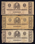 Confederate Notes:1862 Issues, T55 $1 1862. Two Examples.. T71 $1 1864.. ... (Total: 3 notes)