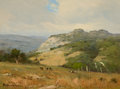 Texas:Early Texas Art - Regionalists, PORFIRIO SALINAS (American, 1910-1973). Hillside Landscape withCows. Oil on canvas board . 9 x 12 inches (22.9 x 30.5 c...