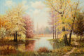 Texas:Early Texas Art - Regionalists, WILLIAM ROBERT THRASHER (American, 1908-1997). AutumnLandscape . Oil on canvas laid on masonite. 23-3/4 x 35-3/4inches...