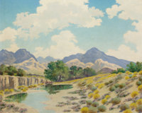 LEWIS TEEL (American, 1883-1960) On Cibolo Creek, 1939 Oil on artist's board 16 x 20 inches (40.6