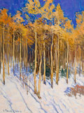 Fine Art - Painting, American:Contemporary   (1950 to present)  , ROBERT DAUGHTERS (American, b.1929). Winter Landscape . Oilon canvas . 16 x 12 inches (40.6 x 30.5 cm). Signed lower le...