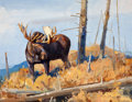 Western:Modern, LUKE FRAZIER (American, b.1970). Shrias Moose - Wyoming .Oil on panel . 13-1/2 x 17-1/2 inches (34.3 x 44.5 cm). Signed...