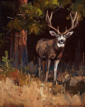Western:Modern, LUKE FRAZIER (American, b.1970). Wary Mule Deer (Utah),2009. Oil on masonite. 10 x 8 inches (25.4 x 20.3 cm). Signed lo...
