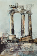 American, DAVID BROWNLOW (American, 1915-2006). Three Columns . Oil onmasonite . 36 x 24 inches (91.4 x 61.0 cm). Signed lower le...