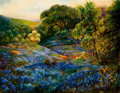 Texas, BEULAH WATTS (American, 1872-1941). Landscape withBluebonnets. Oil on masonite. 23 x 29 inches (58.4 x 73.7 cm).Signed...