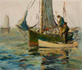 Texas, PAUL RICHARD SCHUMANN (American, 1876-1946). Oyster Fishing,Galveston. Oil on panel (double sided). 11 x 13 inches (27....