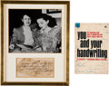 Movie/TV Memorabilia:Autographs and Signed Items, Judy Garland Signature Cut.... (Total: 2 )