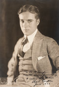 Movie/TV Memorabilia:Autographs and Signed Items, Charlie Chaplin Signed Photo Portrait....