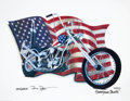 Movie/TV Memorabilia:Autographs and Signed Items, Peter Fonda Signed Easy Rider-Themed Print....