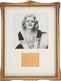 Movie/TV Memorabilia:Autographs and Signed Items, Jean Harlow Autograph Display....