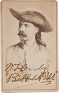 "Photography:CDVs, William F. ""Buffalo Bill"" Cody: Signed Carte de Visite...."