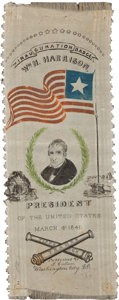 Political:Ribbons & Badges, William Henry Harrison: An Awesome, Richly Colorful 1841 Inaugural Silk Ribbon. ...