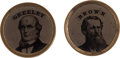 Political:Ferrotypes / Photo Badges (pre-1896), Greeley & Brown: A Beautiful Matched Pair of 1872 FerrotypeLapel Studs. ... (Total: 2 Items)