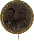 Political:Ferrotypes / Photo Badges (pre-1896), Lincoln & Hamlin: A Key 1860 Uniface Ferrotype Campaign Pin....
