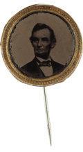 Political:Ferrotypes / Photo Badges (pre-1896), Abraham Lincoln: A Fine 1864 Ferrotype Campaign Pin. ...