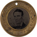 Political:Ferrotypes / Photo Badges (pre-1896), Lincoln & Hamlin: A Scarce Larger-Sized 1860 CampaignFerrotype....