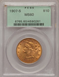 Liberty Eagles: , 1907-S $10 MS60 PCGS. PCGS Population (13/93). NGC Census:(27/192). Mintage: 210,500. Numismedia Wsl. Price for problem fr...