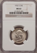 Washington Quarters: , 1932-S 25C MS63 NGC. NGC Census: (461/579). PCGS Population(889/1062). Mintage: 408,000. Numismedia Wsl. Price for problem...