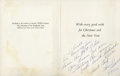 Movie/TV Memorabilia:Autographs and Signed Items, Sharon Tate Signed Christmas Card, 1965....