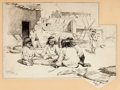 Fine Art - Work on Paper:Drawing, WILLARD LEROY METCALF (American, 1858-1925). Zuni Children atPlay, 1883. Pen and ink on paper . 10-1/2 x 15-1/2 inches ...