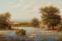 WILLIAM ROBERT THRASHER (American, 1908-1997) Bluebonnet Landscape Oil on canvas 24 x 36 inches