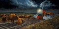 Western:Modern, JOHN FRENCH (British, 1907-1966). Buffalo on the Tracks.Acrylic on panel. 12 x 24 inches (30.5 x 61.0 cm). Signed lower...