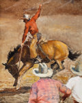 Paintings, PAL FRIED (Hungarian/American, 1893-1976). Cowboy on Horse with Onlookers. Oil on canvas . 30 x 24 inches (76.2 x 61.0 c...
