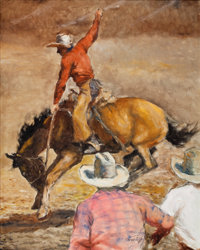 PAL FRIED (Hungarian/American, 1893-1976) Cowboy on Horse with Onlookers Oil on canvas 30 x 24 i
