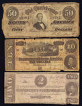Confederate Notes:Group Lots, Mixed Lot of Three Confederate Notes.. ... (Total: 3 notes)