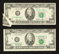 Error Notes:Error Group Lots, Fr. 2075-G $20 1985 Federal Reserve Note. VF. Fr. 2079-D $20 1993Federal Reserve Note. VF.. ... (Total: 2 notes)