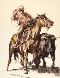 PAL FRIED (Hungarian/American, 1893-1976) Cowboy on Horse with Bull Pastel and charcoal on paper