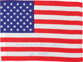Explorers:Space Exploration, Apollo 14 Flown Large American Flag Directly from the PersonalCollection of Mission Lunar Module Pilot Edgar Mitchell, Signed...