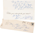 Movie/TV Memorabilia:Autographs and Signed Items, Sharon Tate 1963 Signed Christmas Card and Hand-Addressed Envelope. ... (Total: 2 Items)