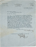 "Autographs:Celebrities, William F. ""Buffalo Bill"" Cody: An Important 1908 Business Letterto Mrs. Ruth L. Bailey of Barnum and Bailey Circus Fame. ..."