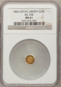 California Fractional Gold: , 1866 25C Liberty Octagonal 25 Cents, BG-708, High R.4, MS61 NGC.NGC Census: (0/11). PCGS Population (5/44). (#10535)...