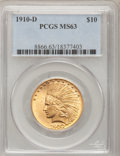 Indian Eagles: , 1910-D $10 MS63 PCGS. PCGS Population (1916/678). NGC Census:(1675/989). Mintage: 2,356,640. Numismedia Wsl. Price for pro...