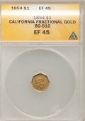 California Fractional Gold: , 1854 $1 Liberty Octagonal 1 Dollar, BG-510, Low R.5, XF45 ANACS.NGC Census: (0/8). PCGS Population (0/40). (#10487)...